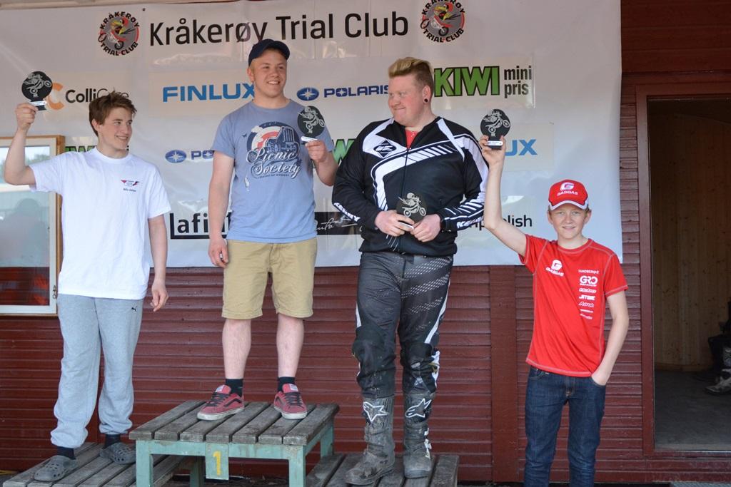 Karrierebeste: Ola Bræck Larsen (Trøgstad) med seier i A-klassen! Nils Johan Gunvaldsen, Ola, Terje Glomset og Petter Bjerlin.