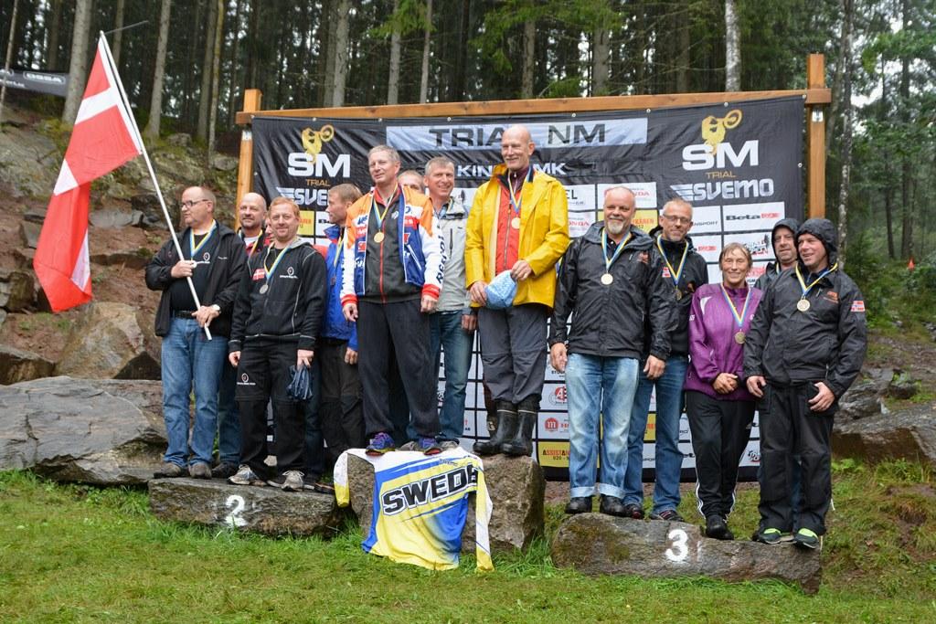 Sist, men ikke mins: Det norske veteranlaget. Det ble en soleklar seier til Sverige, med sølv til Danmark og bronse til Norge. Finland vant jo sist, men stilte denne gangen uten sine toppkort.